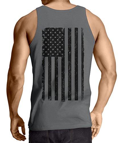 Tcombo Big Black American Flag Men's Tank Top T-Shirt (XL, - Flag Tops Tank American