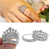 New Retro Womens White Sapphire Gem Silver Crown Wedding Band Ring Set Size 7
