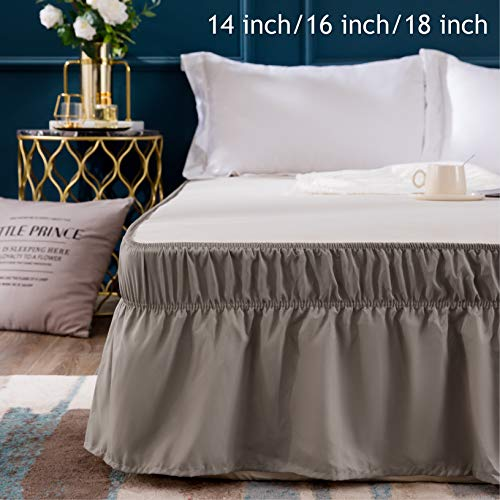 AYASW Bed Skirt 16 Inch Drop Dust Ruffle Three Fabric Sides Wrap Around (Queen or King Taupe) Brushed Microfiber Adjustable Elastic