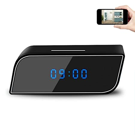 Spy Camera Clock, EOVAS WiFi Hidden Spy Camera Clock Video Recorder Wireless IP Camera with Night Vision Motion Detection for Indoor Home Security Monitoring Nanny Cam