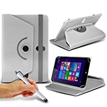 "ONX3® HP Stream 7 7"" Inch Rotating 360 Luxury PU Leather Spring Stand Cover - Various Colours (White + Pen)"