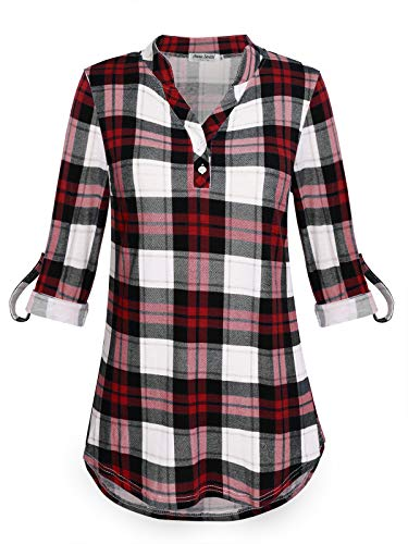 - Anna Smith Casual Tops for Womens Ladies Clothings Pullover Tunic Top Comfort Henley V Neck Relaxed Fit Shirts Color Block Rolled Up Sleeve Blouse Geometric Red White and Black XL