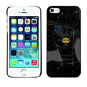 Soft Silicone Rubber Case Hard Cover Protective Accessory Compatible with Apple iPhone? 5 & 5S - woman gold lips fashion art
