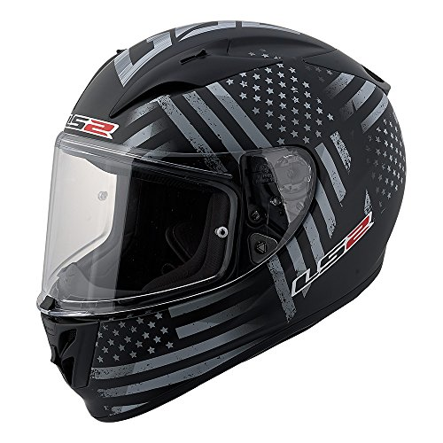 Gray Motorcycle Helmet (LS2 Arrow Old Glory Full Face Motorcycle Helmet (Black/Gray, Small))