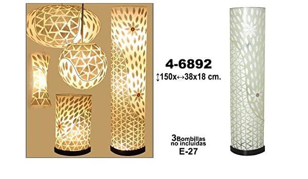 DonRegaloWeb - Lámpara de pie y de fibra y nácar decorada ...