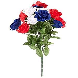 "OakRidgeTM Patriotic Rose Bush Bouquet Silk Floral – Artificial Indoor/Outdoor Décor, Polyester/Plastic, 18"" H 9"