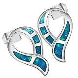 Sinlifu Silver Plated Created Blue Fire Opal Stud Hoop Dangle Earrings Women Jewelry