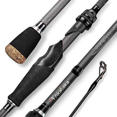 Akataka Spinning Casting Fishing Rod Pure Carbon Fiber 1pc Baitcasting Rod,Sensitive Durable Bass Fishing Pole for Freshwater Saltwater (Spinning-7'1
