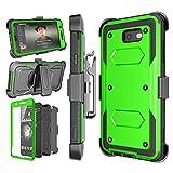 Njjex Galaxy J7 Sky Pro Case,For J7 V/ J7 Perx / J7 Prime Case, [Nbeck] Heavy Duty Built-in Screen Protector Rugged Holster Locking Belt Swivel Clip Phone Cover & Kickstand For Samsung J7 2017 [Green]