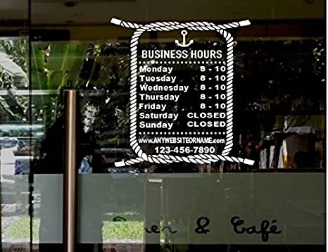 Stickerloaf brand store hours name custom window decal business shop storefront vinyl door sign company lawyer