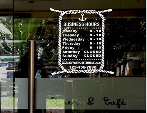 StickerLoaf Brand STORE HOURS SIGN CUSTOM WINDOW DECAL BUSINESS SHOP Storefront bar pub restaurant food truck cafe deli nautical seafood fishing lobster boating marina yacht club