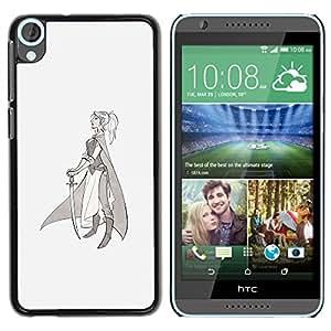 iBinBang / Funda Carcasa Cover Skin Case - Warrior Princess Sword Profile Art Drawing - HTC Desire 820