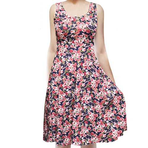 Flower Pot Dress - SMT Women's Sleeveless Flowy Midi Summer Beach A Line Tank Dress Flower Pot Navy Small