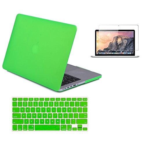 Raidfox MacBook Pro 13 Retina Accessories 3-in-1 Plastic Hard Case - Soft Silicone Keyboard Cover - HD Clear Screen Protector for Apple Mac Book 13.3