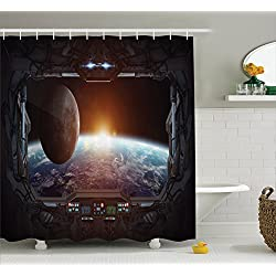 Ambesonne Outer Space Shower Curtain, Window View from Spaceship Station to Universe Celestial Discovery Fiction Art, Fabric Bathroom Decor Set with Hooks, 84 Inches Extra Long, Grey Black