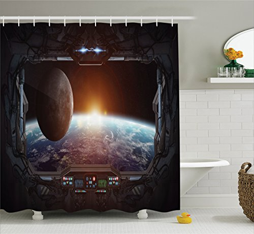War Home Decor Shower Curtain by Ambesonne, Window View from