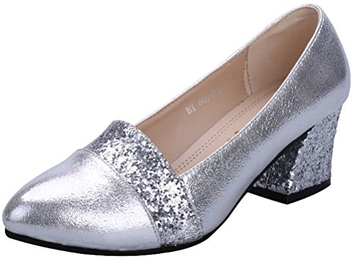 Bush Dancing Costumes (T&Mates Womens Comfort Fashion Slip-on Low Cut Mid Chunky Heel Dress Dancing Party Pumps (5.5 B(M)US,Silver))