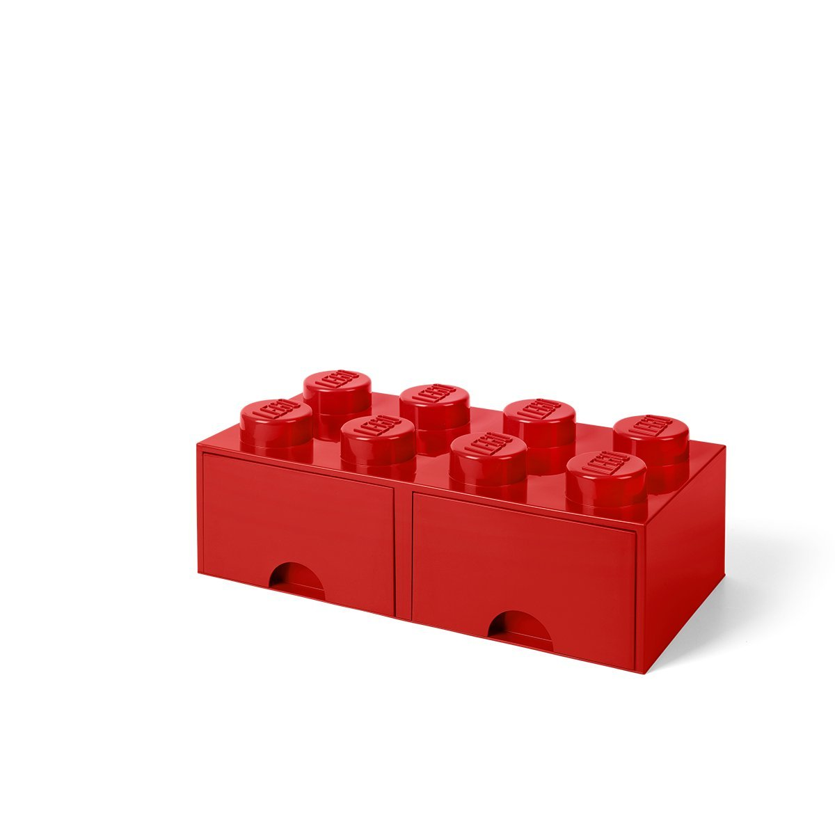 LEGO Brick Drawer, 8 Knobs, 2 Drawers, Stackable Storage Box, Bright Red