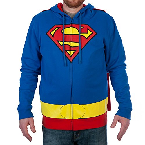 Superman Cosplay Costumes (DC Comics Superman Caped Mens Cosplay Costume Hoodie (Medium))