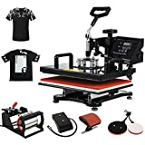 Heat Press 5 in 1 Digital Multifunctional Sublimation Heat Transfer Machine 15X15 Inch for T-Shirts Hat Mug Cap Plate