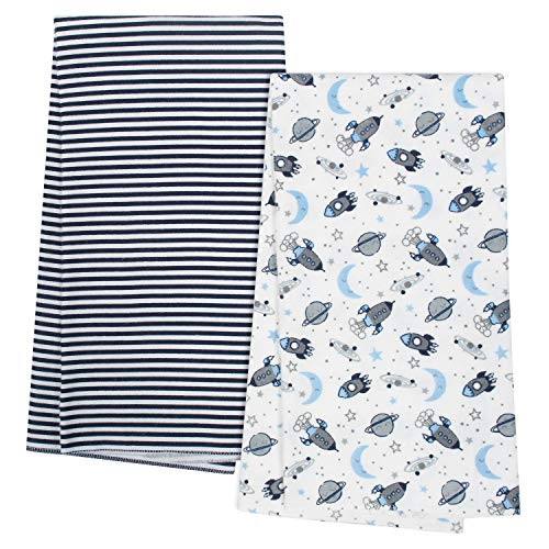 Gerber Organic Flannel Blanket, Navy Space, One Size