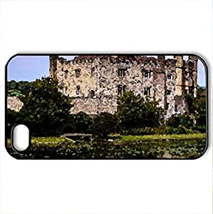 Leeds Castle, England - Case Cover for iPhone 4 and 4s (Medieval Series, Watercolor style, Black)