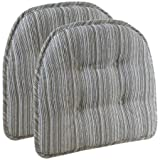 Gripper Non-Slip 15'' x 16'' Sophia Stripe Tufted Chair Cushions, Set of 2 Taupe