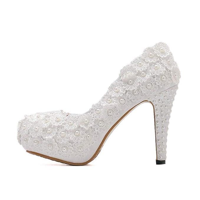 fb27d9dd Plataforma para damas, zapatos de novia, tacones altos, perlas, bombas  blancas, zapatos de boda, mujeres, tacones de aguja: Amazon.es: Ropa y  accesorios