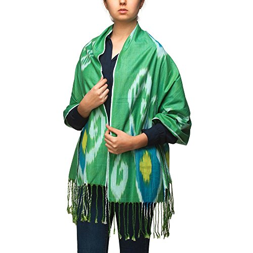 Ikat Handmade Ornament Scarf Wrap Amulet Collection for Women and Men Barno Fashion by BLAGOO (Green Spring)