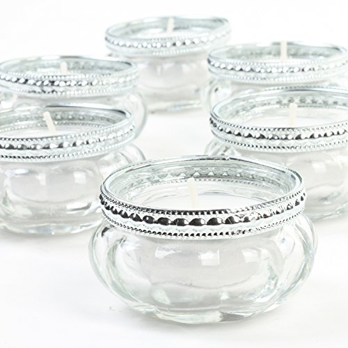 (Koyal Wholesale Bloom Tea Light Holders, 6-Pack Petite Glass Tealight Cup, Vintage, Boho Wedding Tealight Cup)