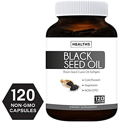 Healths Harmony Best Black Seed Oil 120 Softgel Capsules (Non-GMO & Vegetarian) Premium Cold-Pressed Nigella Sativa Producing Pure Black Cumin Seed Oil with Vitamin E, Made in The USA - 500mg Each