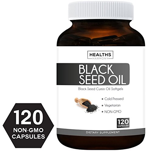 Best Black Seed Oil 120 Softgel Capsules (NON-GMO & Vegetarian) Made from Cold Pressed Nigella Sativa Producing Pure Black Cumin Seed Oil - Made in the USA - 500mg each (1,000mg Per Serving) Black Capsule