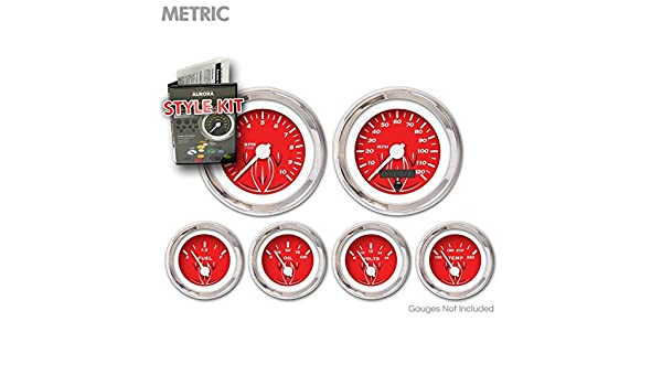 White Vintage Needles, Chrome Trim Rings Aurora Instruments 4707 Pinstripe Red Metric Style Kit