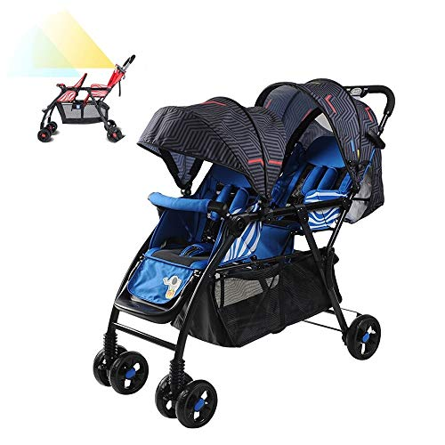 Double Stroller Tandem Collapsible Stroller Convenience Urban Twin Carriage Stroller All Terrain Double Pushchair for Toddler Girls and Boys Stable Stroller Frame with Bag Blue