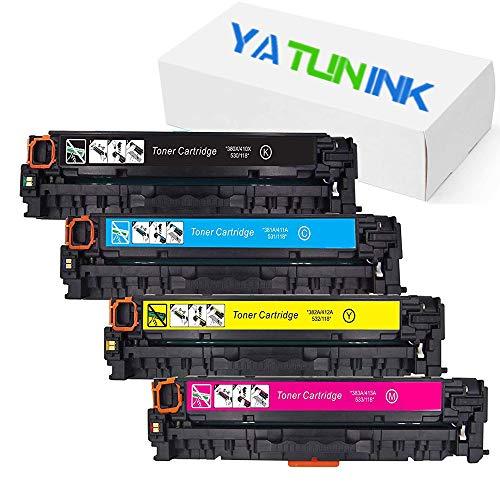 (YATUNINK Remanufactured Toner Cartridge Replacement for HP 125A CB540A CB541A CB542A CB543A Use in Color Laserjet CP1215 CP1518ni CP1515n CM1312nfi CM1312 MFP Series Printer(4 Pack))