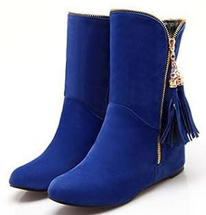 IDIFU Women's Sweet Tassels Side Zip Flat Heighten Short Ankle Boots Blue 11 B(M) US