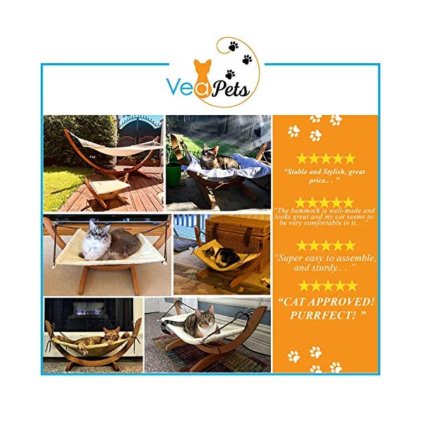Vea pets Luxury Cat Hammock - Large Soft Plush Bed - Holds Small to Medium Size Cat or Toy Dog | Anti Sway | Attractive & Sturdy Perch | Easy to Assemble | Wood Construction 2