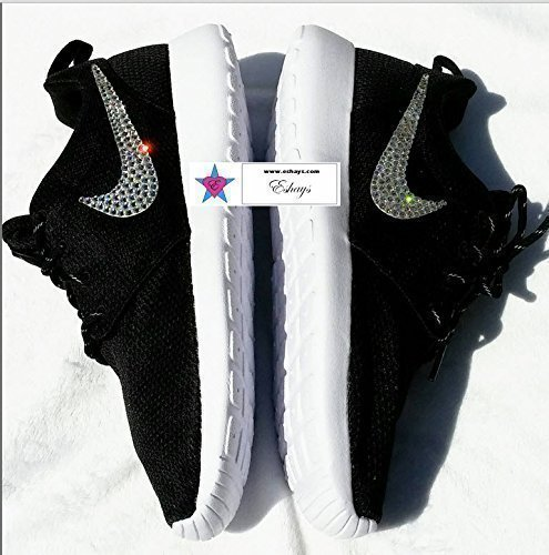 Crystal Swoosh Black Roshe Runs Glitter Sneakers by Eshays