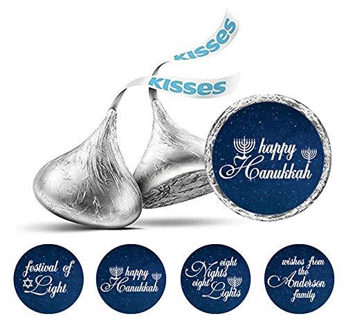 Darling Souvenir Pack of 190 Pcs Hanukkah Jewish Stickers Hershey's Kisses Chocolate Labels-Midnight Blue