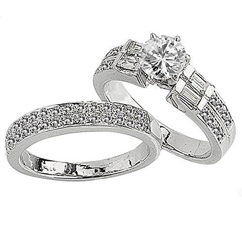 Dazzlingrock Collection 1.65 Carat (Ctw) 14k Brilliant Round & Baguette Diamond Semi Mount Ladies Bridal Engagement Ring Set (No Center Stone), White Gold, Size 9