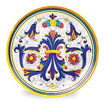 (Ricco Deruta Hand Painted Dinner and Decorator Plate From Italy )