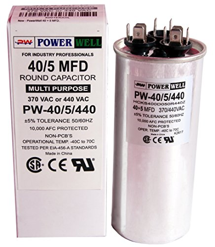 PowerWell 40 + 5 MFD uf PW-40/5/R 370 or 440 Volt Dual Run Round Capacitor for Condenser Straight Cool or Heat Pump Air Conditioner 40/5 micro farad