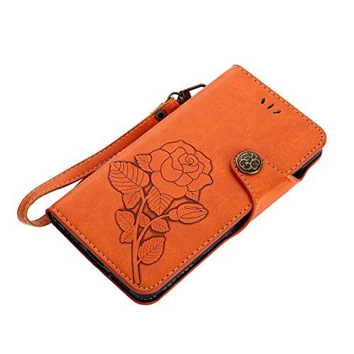 MEIRISHUN Leather Wallet Case Cover Carcasa Funda con Ranura de Tarjeta Cierre Magnético y función de soporte para Huawei Y5II - Verde claro naranja