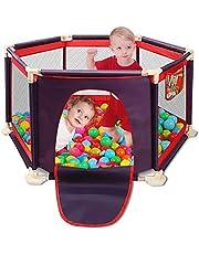 Clôture pour parc enfants, parc pour enfants, clôture, centre de jeu portable avec étui de transport et filet respirant pour bébé nouveau-né, jeux intérieur et extérieur (Balles non incluses)