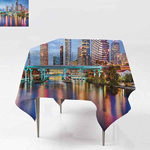 DUCKIL Elegant Waterproof Spillproof Polyester Fabric Table Cover Hillsborough River Tampa Florida USA Downtown Idyllic Evening at Business District Indoor Outdoor Camping Picnic W50 xL50 Multicolor