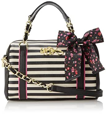 Betsey Johnson Scarf-Face Top Handle Bag,Small Black Stripe,One Size