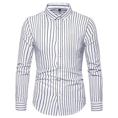 JJLIKER Men's Long-Sleeve Plaid Button-Down Shirts Striped Standard-Fit Dress Shirt Slim-Fit Business Tees Tops Adult White