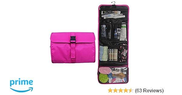 Amazon.com   Travel Hanging Toiletry Bag Travel Kit Organizer Cosmetic  Makeup Waterproof Wash Bag for Women Girls Travel Case for Bathroom Shower  (Hot Pink) ... 5fa756d30baf6