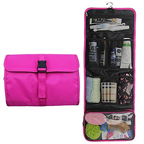 Travel Hanging Toiletry Bag Travel Kit Organizer Cosmetic Makeup Waterproof Wash Bag for Women Girls Travel Case for Bathroom Shower (Hot Pink)