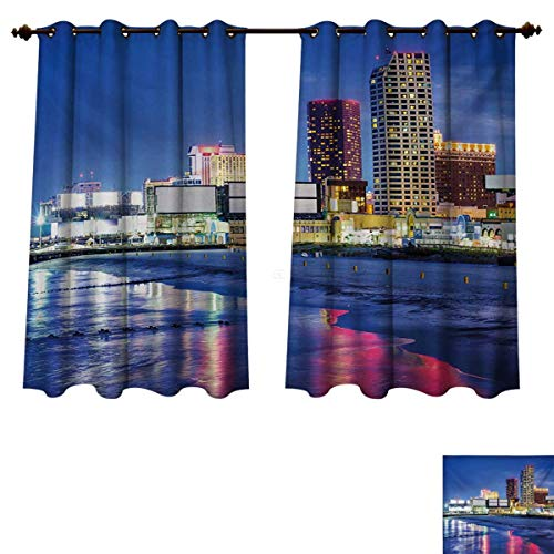 RuppertTextile City Blackout Curtains Panels for Bedroom Resort Casinos on Shore at Night Atlantic City New Jersey United States Room Darkening Curtains Violet Blue Pink Yellow W72 x L72 inch (Soho New Jersey)
